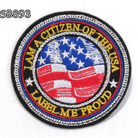I MA THE CITIZEN OF THE USA Iron on Small Badge Patch for Biker Vest SB893
