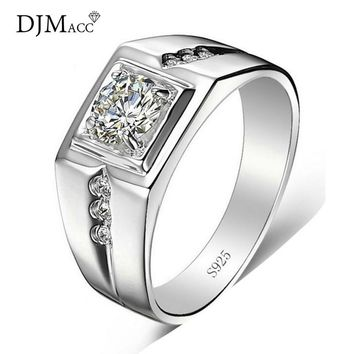 DJMACC Brand High Quality Fashion Jewelry 925 Sterling Silver 5mm CZ Zircon love Engagement Wedding Rings For Men (DJ0957)