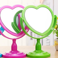 Heart-Shaped Makeup Mirror Double-Sided Plane Stand Mirror = 1704277636