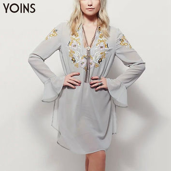 Spring Fashion Embroidery Chiffon Dress Casual Flare Long Sleeve V-neck Mini Dresses