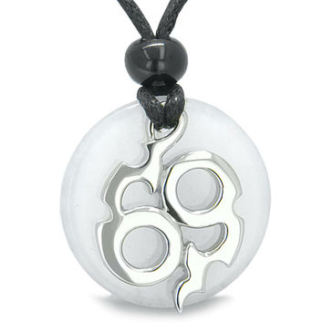 Amulet Infinity Symbol Magic Fire Energy White Snowflake Quartz Good Luck Power Pendant Necklace