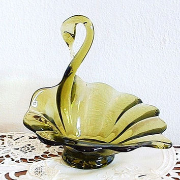 Blown Glass Swan Dish Vintage Green Glass Candy Dish Decorative Collectible