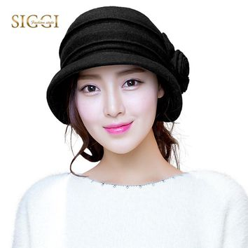 Women Winter Bowler Fedora Felt Hats Packable Wool Cloche Autumn Warm SIGGI Cap Sombreros Chapeau femme 1920 Vintage 16076