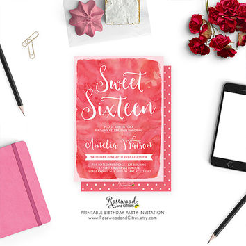Printable Sweet 16 Invitation, Printable Sweet Sixteen Invite, Sweet Sixteen Birthday, Blush Pink Sweet 16 Birthday, Watercolor Birthday