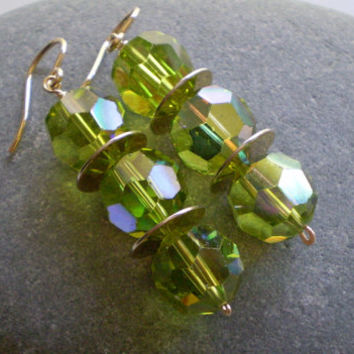 Vintage Green Crystal Beads & Gold Disc Earrings, Green Crystal Earrings, Vintage Beaded Earrings,  OOAK