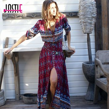 Jastie 3/4 Sleeve A-line Vintage V-Neck Boho Maxi Dress Floral Print Chic Summer Dress New Plus Size Fashion Women Vestidos