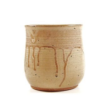 Tan pottery tumbler, stoneware cup, ceramic juice cup, stemless wine glass, pottery cup - Ready to ship