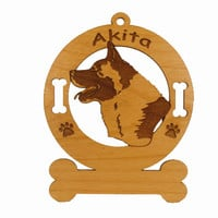 1154 Akita Head Ornament Personalized with Your Dog's Name