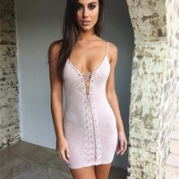 Fashion Backless Sleeveless Off Shoulder Strappy Bodycon Mini Dress