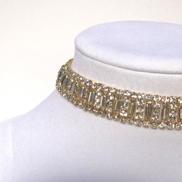 Gold Diamond Paris Choker Adjustable Rhinestone Statement Necklace Princess Design by Majesty Chokers
