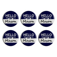Mason Hello My Name Is Plastic Resin Button Set of 6
