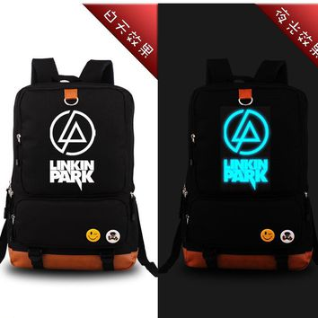 High Quality Linkin Park Rock Band Printing Canvas Mochila Feminina Travel Military Tctical Bag School Bags for Teenagers