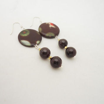 Garnet and Mother of Pearls Earrings, Gemstone Earrings, Long Garnet Earrings, Brown Earrings