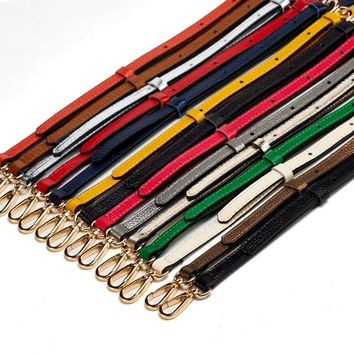 DIY Shoulder Straps for handbags Genuine Leather Wallet Leather Strap Handle Replace Strap bag Gold Buckle parts 130*1.2cm