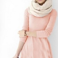 Pastel Pink O-Neck Long Sleeve Flared Tunic Mini Dress