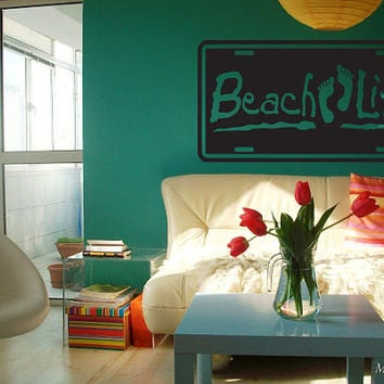 Beach Life Surfing Beach House Flip Flops Nursery Room Wall Art
