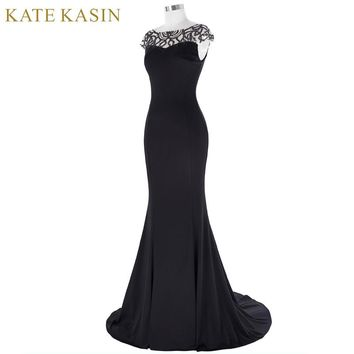 Kate Kasin Long Beading Prom Dresses 2017 Vestido de Festa Floor Length Mermaid Evening Dress Cap Sleeve Women Formal Party Gown