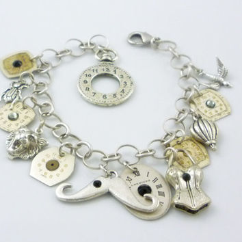 Steampunk Charm Bracelet with Corset, Scarab, Hot Air Ballon, Wild Cat, and Vintage Watch Dials