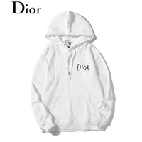 DIOR selling casual hoodies for couples, fashion embroidered hoodies White