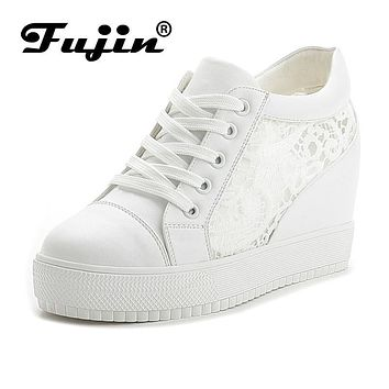 Fujin 2017 Summer Autumn New Women's Genuine Leather Platform Shoes Wedges White Lady casual Shoes Swing mother shoes size 35-40