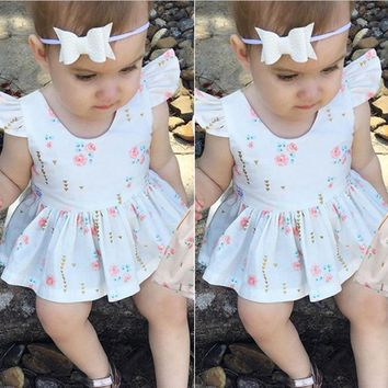 1 Year Summer Baby Dress Sleeveless Infant Baby Girl Clothes Floral Print Geometry Dress for Baby Princess Dress Infant Clothing