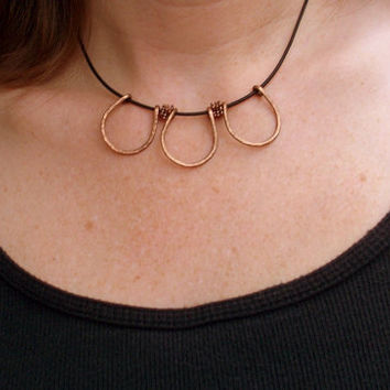 Copper Petals - Hammered Copper And black Leather Cord Choker Necklace