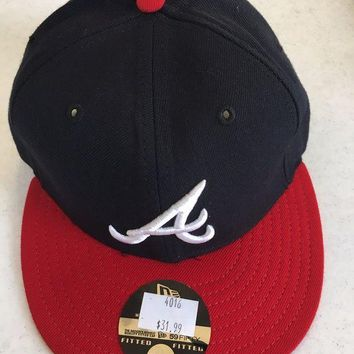 DCCKIHN ATLANTA BRAVES MLB NEW ERA 5950 NAVY W/ WHITE 'A' RED BRIM GRAY UNDER FITTED HAT