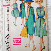 Simplicity 3904 vintage sewing Pattern tent dress shift sack reversible 1960s Mad Men Beach Bust 36 chinese hat