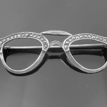 Vintage Eye Glass Brooch, Sterling Marcasite Cat Eye Eyeglasses, Retro Figural Brooch, 1950s Jewelry
