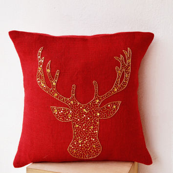 Deer Pillows - Animal pillows with stag embroidered in gold beads -Burlap pillows -Gold Moose pillow - Red pillows- Christmas pillows 20x20