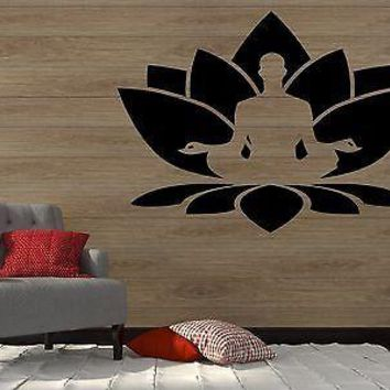 Wall Vinyl Sticker Decal Lotus Flower Seated Buddha Meditation Yoga Studio Unique Gift z2910