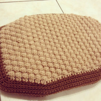 Two-Tone Brown Puff-Stitch Pet Bed in Small (Other sizes available)
