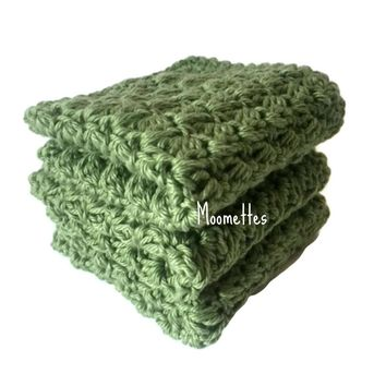 Handmade Kitchen Dish Cloths Sage Green Wash Cloth Cotton Dishcloths Crochet Set of 3