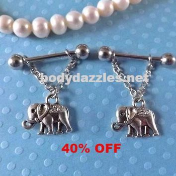 Elephant Nipple Ring 14ga Barbell Body Jewelry Stainless Steel 1 Set Black Friday Cyber Monday