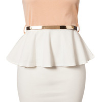 Colour Block Peplum Belt Dress - Club L - White/Pink - Party Dresses - Clothing - Women - Nelly.com Uk
