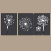 DANDELION Wall Art Granite Gray Bedroom Wall Art Bathroom Wall Art Bedroom Pictures Flower Wall Art Dandelion Prints Set of 3 Home Decor