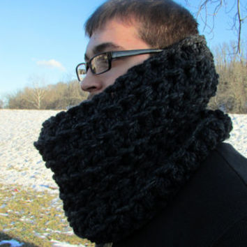 Dark Gray Wool Cowl, Men's Fashion, Unisex, Men Scarf, Oversized, Chunky, Infinity Scarf, Crochet Neckwarmer