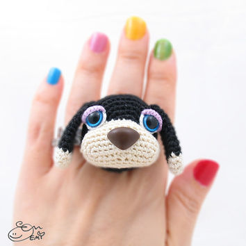 PDF Amigurumi / Crochet Pattern Sleepy Eye Dog Ring CP-14-3235