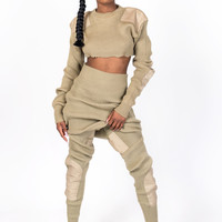 TAN KNIT COLLECTION CROP