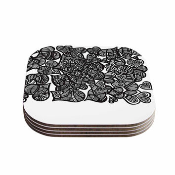 "Adriana De Leon ""Hidden Hearts"" Black White Coasters (Set of 4)"