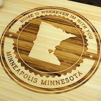 Minnesota State Cutting Board (Pictured in Natural), approx. 12 x 16 inches, heart, bamboo,  Personalized Wedding Gift, Anniversary gift