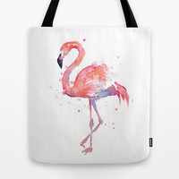 Flamingo Watercolor  Tote Bag by Olechka
