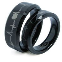 JewelryWe Matching Black Comfort Fit Tungsten Carbide Rings with Laser Forever Love Design 8mm (Size 5-16) His & 6mm (Size 4-16) Hers Set Aniversary/engagement/wedding Bands, Size 7