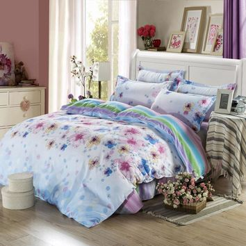 BOHO RED BLUE FLORAL COTTAGE GREENLAND BEDDING 1*Quilt Cover and 2*   Pillowslips 150X200CM