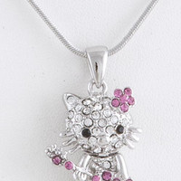KITTY WITH GUITAR PENDANT NECKLACE