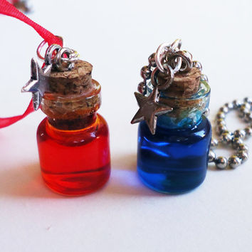 Health Potion / Mana Potion  NECKLACE  Gamer Girl by FrozenNote