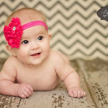 Valentine Headband, Hot Pink Shabby heart headband. Baby Girls Headbands, Newborn headband, infant headband, Photography  props