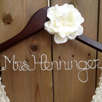 SALE Bride Hanger, Bridal Hanger, Wedding Dress Hanger, Personalized Hanger, Bridesmaid Hangers, Custom Wedding Hanger, Shower Gift