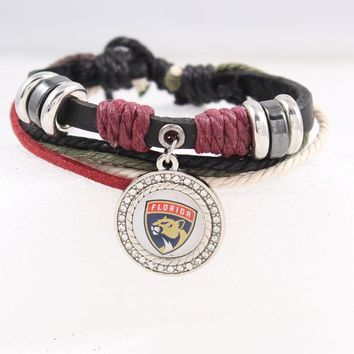 Florida Panthers NHL charms Leather Bracelets & Bangles fashion bracelet for women men Ice Hokey Fans Jewelry Dropshipping