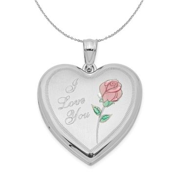 Sterling Silver and Enamel 24mm I Love You Rose Heart Locket Necklace